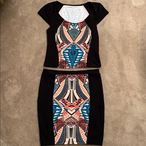 Small Patterned black 2 piece crop top and skirt